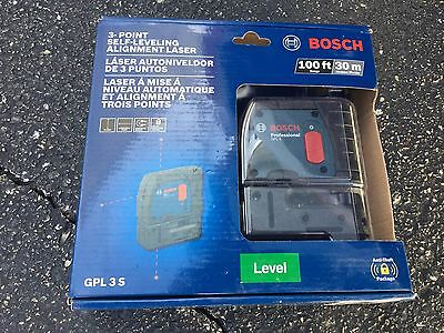 BOSCH GPL 3S 3 Point Self Leveling Alignment Laser Level  NEW SHIPS FREE