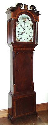 Antique Rolling Moon Mahogany Longcase Grandfather Clock ADAMS MIDDLEWICH