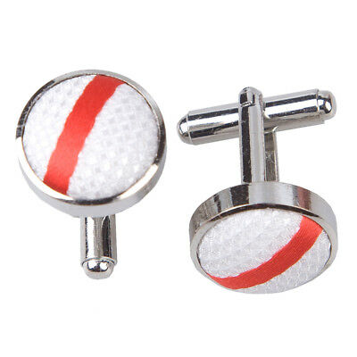 DQT Woven Single Stripe White & Red Formal Casual Jacquard  Mens Cufflinks