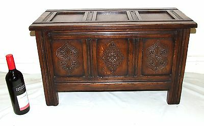 Small Antique Style Carved Oak Coffer Blanket Box Storage  G T RACKSTRAW LTD