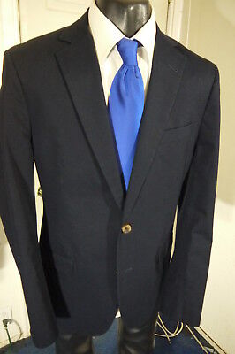 Brooks Brothers Fitzgerald Size 40L Navy Cotton 2 Button Sportcoat