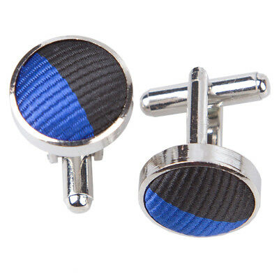 DQT Woven Striped Royal Blue & Black Formal Casual Jacquard Mens Cufflinks