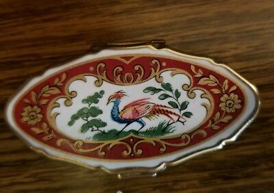 Beautiful Vintage Stratton Gold Tone Enamel Peacock  Floral Pill Box