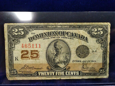 1923 Dominion of Canada 25 Cents Fractional Currency