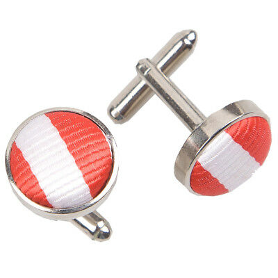 DQT Woven Fabric Inlay Cuff Links Thin Stripe White & Red Formal Mens Cufflinks