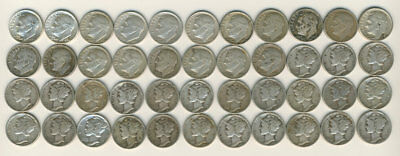 40 Circulated Silver Dimes - Mixed Mercury and Roosevelt 1927 - 1964