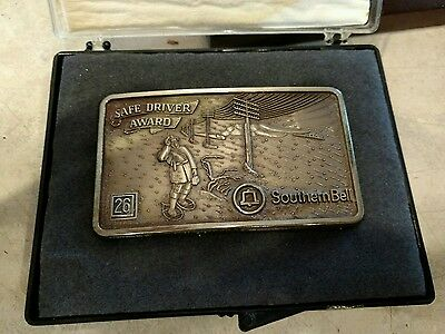 Vintage Southern Bell Telephone 26 YEARS Safe Driver Award Belt Buckle