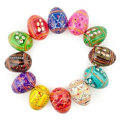 "1.25"" Set of 12 Miniature Ukrainian Wooden Easter Eggs"