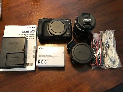 Canon EOS M3 Mirrorless Digital Camera Kit w/lens mount adapter - excellent!