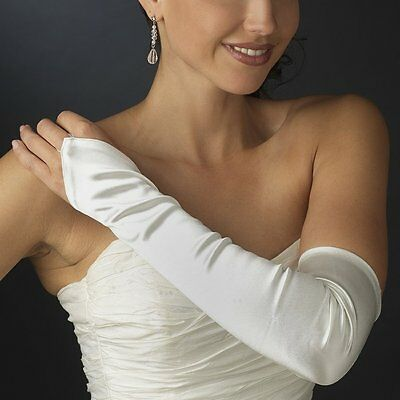 Matt White Fingerless Opera Gloves White Prom Gloves White Wedding Gloves