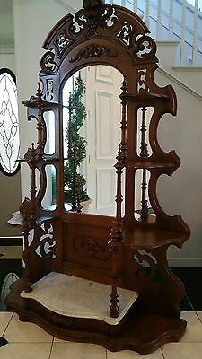 Etagere Victorian Heavily Carved Marble Top