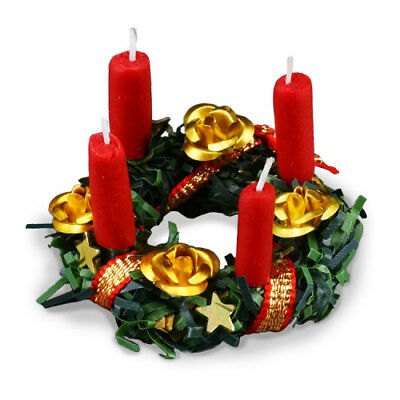 Dollhouse Accessory Christmas Centerpiece// White Flower Candle A3850