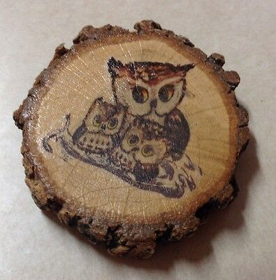Vintage Small Wood Owl Plaque Wall Hanging Tree Piece Painted Owl 3 X 2