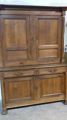 Huge Heavy Rare Antique 18Thc French Oak Linen Press Complete Solid With Key
