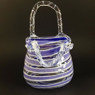 Fifth Avenue Crystal Blue Purse Vase Handbag Glass Art Hand Blown