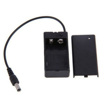 9V Battery Holder Box Case Wire Lead ON/OFF Switch Cover With DC 5.5*2.1mm PlugT