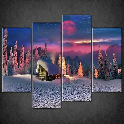 Red Moon Snow In Foret Canvas Print Picture Wall Art Free Fast Delivery