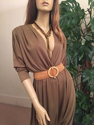 Vintage French Designer 1980s Disco Khaki Harem Pants Jumpsuit size small / 8-10