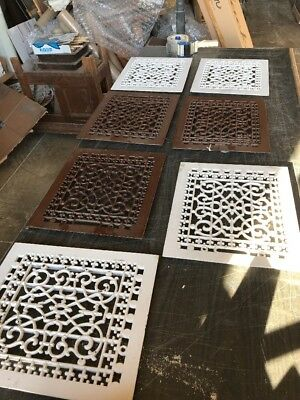 B3 7 Matching Sold Separate Antique Cast-Iron Heating Grate Faceplate 12 X 14