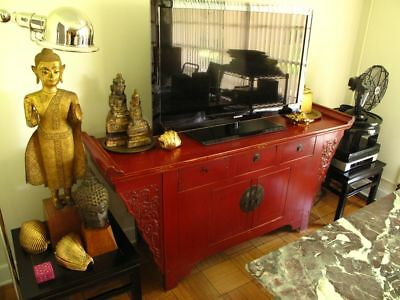 ANTIQUE 1930s CHINESE RED-PAINTED WOOD CABINET