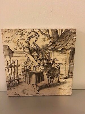 RARE 19th. CENTURY WILLIAM WISE MINTON FARM ANIMAL SERIES TILE / TEAPOT STAND