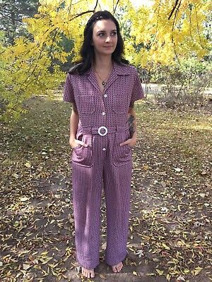 Vintage 1970s Homemade Polyester Belted Jumpsuit Disco Hippie Retro Mod S/M