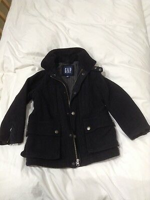 Boys Gorgeous Charcoal Grey Wool Coat From GAP age 5-6