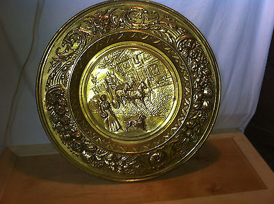vtg Brass Stove pipe cover plate fire place hearth Architectural salvage