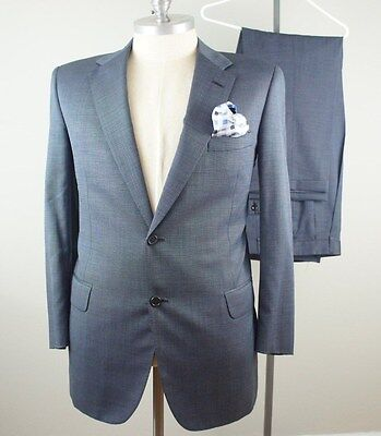 44L, 35 x 31 OXXFORD CLOTHES Mens Solid Blue Wool Saks Fifth Benjamin Suit 069