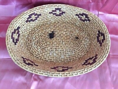 "Vintage Hand Woven Basket Platter 16 x 10"" Southwest Style"