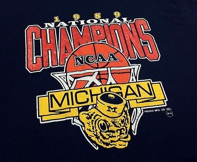 VINTAGE 1989 80's MICHIGAN WOLVERINES National Champions 50/50 T Shirt jersey