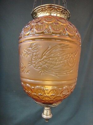 Vintage Suspension Amber Dragon Shade - Electrified Hanging Oil Lamp Style