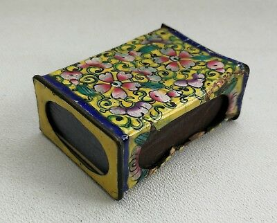 Vtg Chinese Cloisonne Enamel Matchbox Vesta Cover Old Paper Match Box (empty)