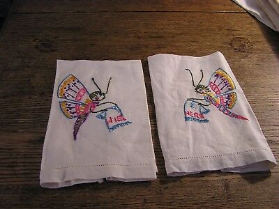 Vintage Mid Century  Guest Towel Pair, Embroidered His & Hers Butterflies