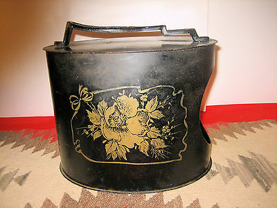 Oval Toleware Tin Shoe Stand Box Gold Stencil Floral Design Cast Iron Foot Rest