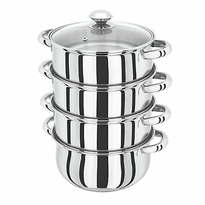 24cm INDUCTION HOB COMPATIBLE 5 Piece 4-tier Stainless Steel Steamer With Glass