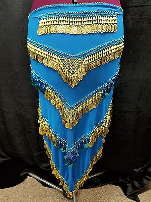 Belly Dance Hip Scarf Blue with Gold Coins