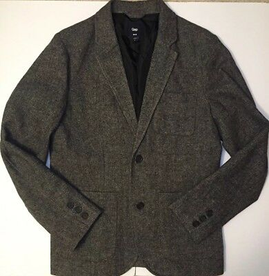 GAP Men's Gray Herringbone Tweed Wool Blend Sport Coat Blazer Jacket Grey Small