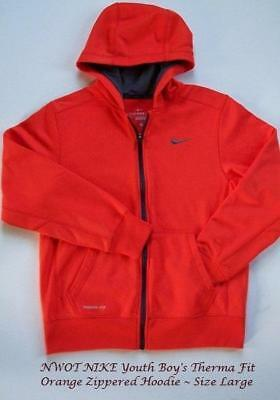 NWOT NIKE Boy's THERMA-Fit FULL Front ZIP Orange/GRAY Hoodie ~ YOUTH Boy's Large