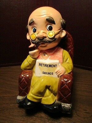 Vintage Plaster Coin Bank - Retirement Savings - Old Man in Rocking Chair
