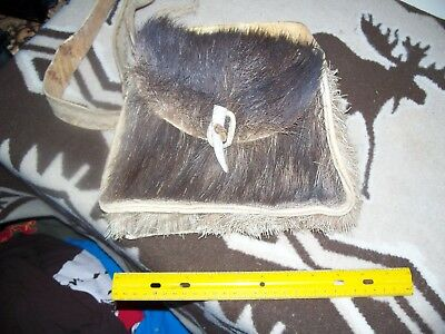 Antique, Old Moose hide, Caribou hide shoulder bag, Native American?