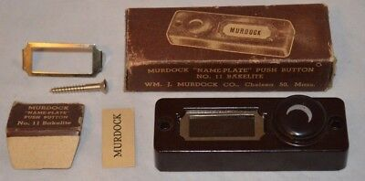 Vintage 1930s Murdock No. 11 Bakelite Crescent Moon Name-Plate Doorbell Switch