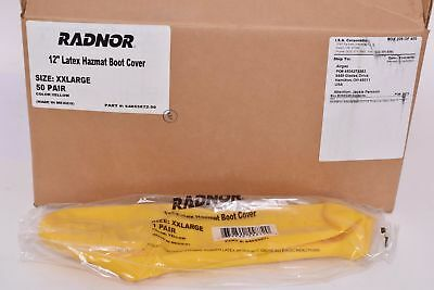 Lot of 50 NEW Radnor Hazmat 12'' Latex Rubber Boot Cover, Yellow, XXL 64055872