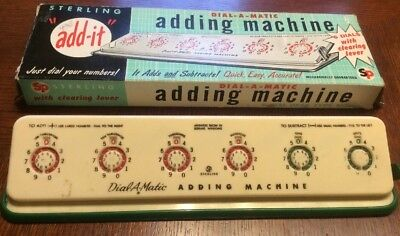 Vintage 1956 Sterling Dial-A-Matic Add It Adding Machine In Box #568
