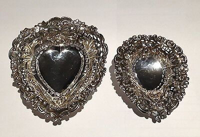 2 Antique Sterling Silver Heart Dishes Footed