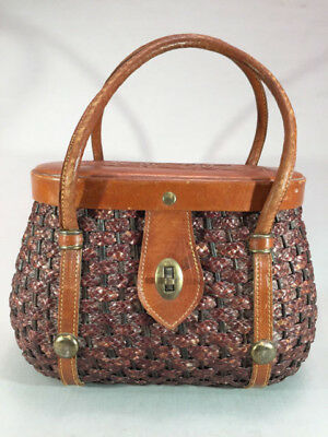 Vintage Basket Purse With Tooled Leather Top Fishing Creel Style Handbag
