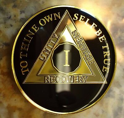 AA Black Gold 1 Year Coin Tri-Plate Alcoholics Anonymous Medallion Sober Chip