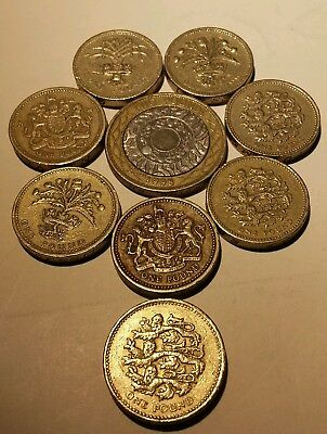 9 Great Britain, United Kingdom 1 pound & 2 pounds Coins