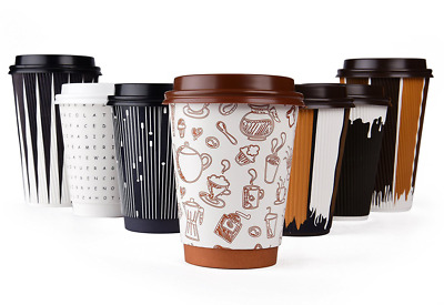 Hornbit Disposable Coffee Cups with Lids and Coffee Stirrers (Set of 50) - 12 oz