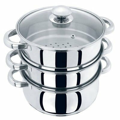 Large 3 Tier Stainless Steel Multi Food Cook Pot Steamer Glass Lid 24cm